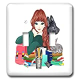 3dRose Sandy Mertens Dog Designs - School Study Buddies Furry Friends and Girl, 3drsmm - Light Switch Covers - double toggle switch (lsp_295175_2)