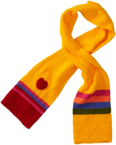 Kidorable Yellow Heart Soft Acrylic Knit Scarf for Girls With Fun Colored Stripes, 43x5.5 Inches