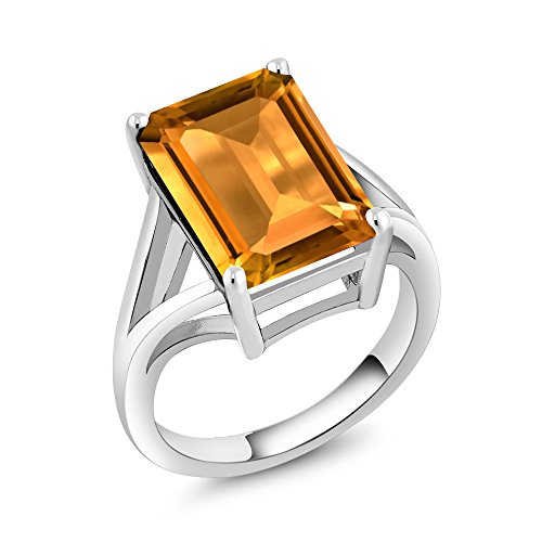 925 Sterling Silver Yellow Citrine Gemstone Birthstone Women's Solitaire Ring 8.20 Ctw Emerald Cut (Size (Emerald Cut Emerald Stone)