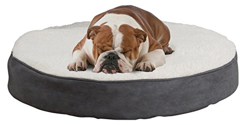 PETMAKER Round Pet Bed- Memory Foam Pillow Top Reversible Cat and Dog Bed with Removable Sherpa/Micro-Suede Machine Washable Cover 30 x 5 Gray - Memory Foam Round Dog Bed