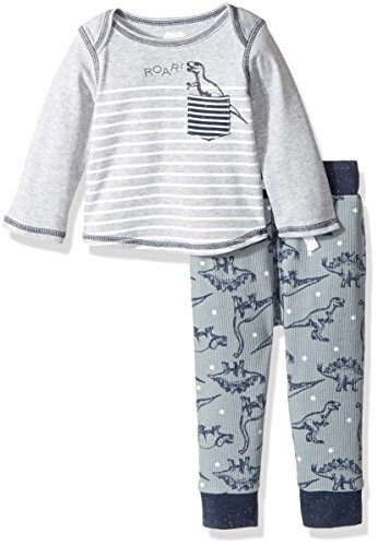 Mud Pie Baby Boys' Dinosaur Stripe Long Sleeve Two Piece Play Set, Blue, 6-9 MOS