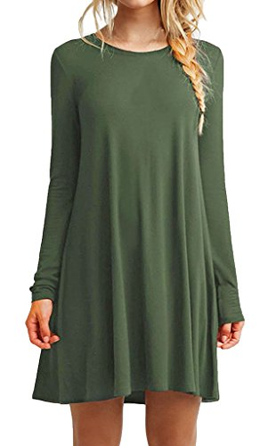 [iPretty Women's Casual Long Sleeve Loose Long T Shirt Tee Top Blouse Dress GREEN] (Pixel Gloves)