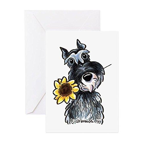 CafePress Sunflower Schnauzer Greeting Card, Note Card, Birthday Card, Blank Inside Matte