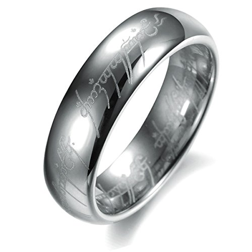 Ztuo Silver Wide 8mm Stainless Steel Engraved Word Letter Cool Band Hobbit One Lord of the Rings Ring 8