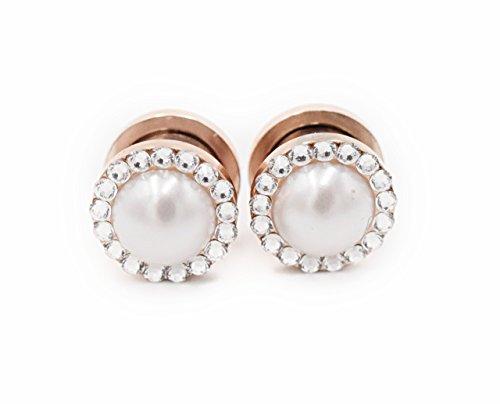 Pearl and Swarovski Crystal Plugs 2g, 0g, 00g, 1/2, 9/16, 5/8, 11/16, 3/4 - Wedding Gauges