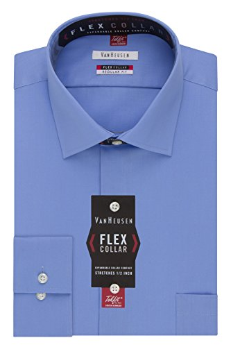 Van Heusen Men's Flex Collar Regular Fit Solid Spread Collar Dress Shirt, Periwinkle, 16.5