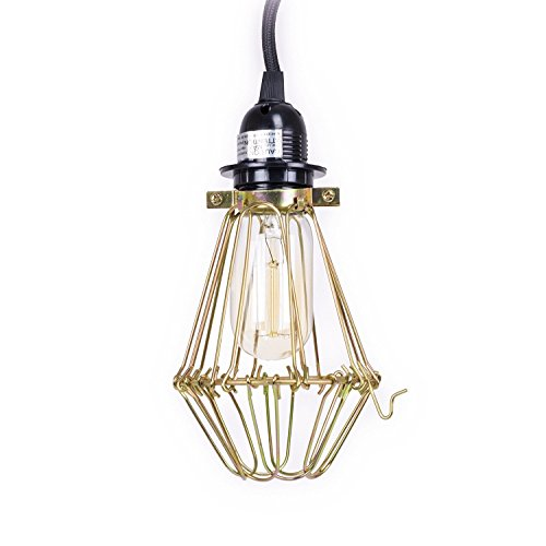 Modern Design Metal Wire Adjustable Pendant Cage Light Fixture 15' Plug-in Cord with Toggle Switch and Edison Bulb in Bronze by ArtifactDesign