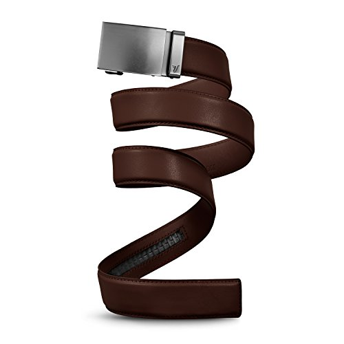 Mission Belt Men's Ratchet Belt - Gun Metal - Gun Metal Buckle/Chocolate Brown Leather Strap, Medium (33-35)