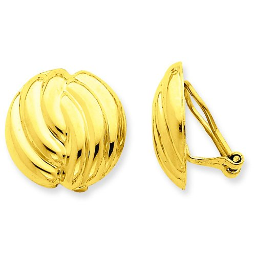 14K Yellow Gold Omega Clip On Earrings Jewelry by FindingKing