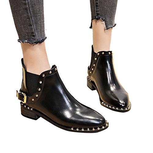 AgrinTol Women Boots Teen Girl Ankle Booties Retro Thick Heel Short Boost Zipper PU Leather High Heels Boots Shoes ()