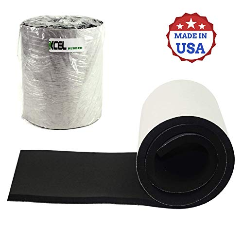 "XCEL Super Versatile Rubber Pads with Strong Adhesive, Great Vibration Damping Pads, Perfect for Loud Washing Machines, Acoustic Foam Pad, Made in USA (1 Pack - 60"" x 8"" x 1/2"")"