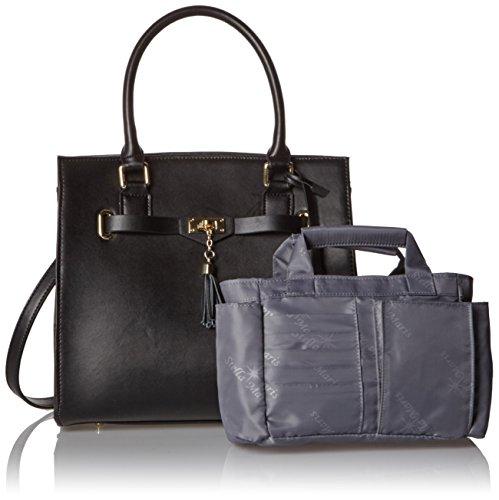 Stella Maris Damen Handtasche Henkeltasche Schultertasche Umhängetasche Fashion Tote Bag Aus Leder Schwarz mit Herausnehmbarem Taschenorganizer - STMB610