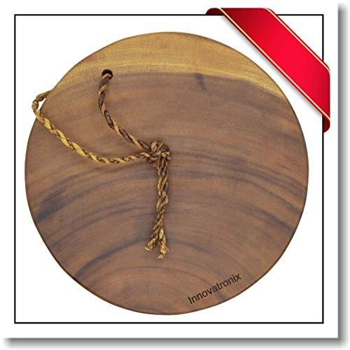 Innovatronix One (1) piece Handmade Wood Wooden Acacia Round Block Cutting Board | Rustic Acacia Round Block Chopping Board | 10