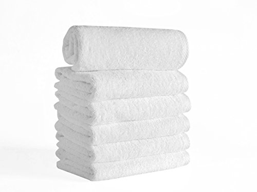 Salbakos Classic Turkish Cotton 6 Piece White Bath Towel Set - Thick and Soft Terry Cloth Hotel and Spa Quality Bath Towels Made with 100% Turkish Cotton 16 x 28 Inch (Terry Towels Cotton)