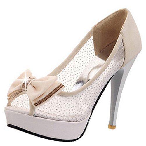 Chaussures Elegant Toe TAOFFEN Beige De Sandales Enfiler Bowknot Aiguille Talons Hauts A Femmes Peep wptq5xtv