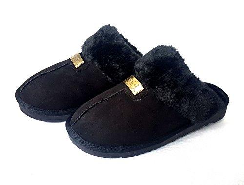 GCG Zapatillas originales de la marca GCG, para mujer, piel de oveja de imitación, suela rígida antideslizante, sintético, Rosa, 8 Negro