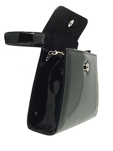 LONI - Cartera de mano para mujer negro Black Crocodile Patent Small marfil, crema