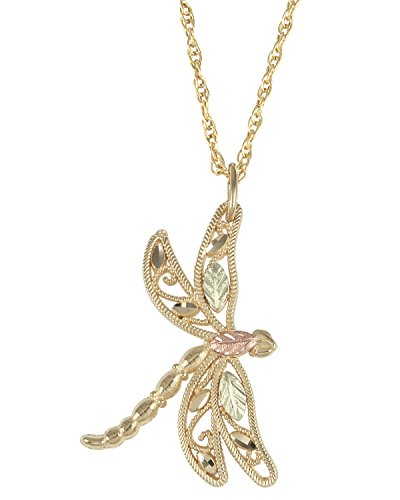 Filigree Dragonfly Pendant Necklace, 10k Yellow Gold, 12k Green Gold, 12k Rose Gold Black Hills Gold ()