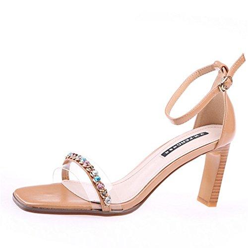 Zapatos Agua Alto Hollow color De Rocio Espesor Apricot Tacon Hebillas Zona KPHY Dulce De Cm Tacon 8 De Toe La De Sandalias Verano Taladro Pelúcida qwwC6Rf