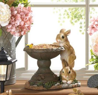 Tolbsplace New Playful Bunny Bird Feeder Rabbit Wildlife Outdoor Garden Yard Statue Seed ()