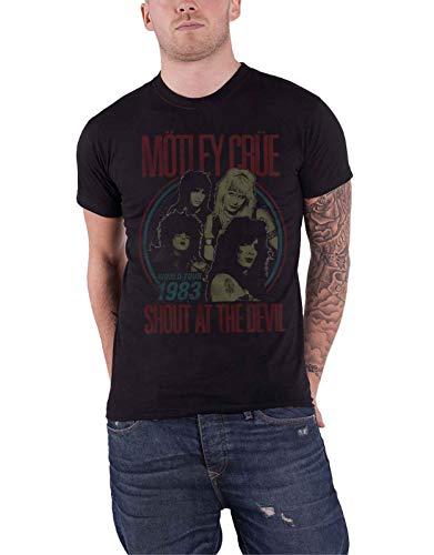 Motley Crue T Shirt Shout at The Devil Vintage World Tour Official Mens Black Size M