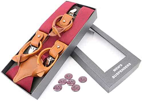 483672b88 RIONA Men s Y-Shaped Heavy Duty Suspenders Strong Clips   Leather Button  End High Elastic