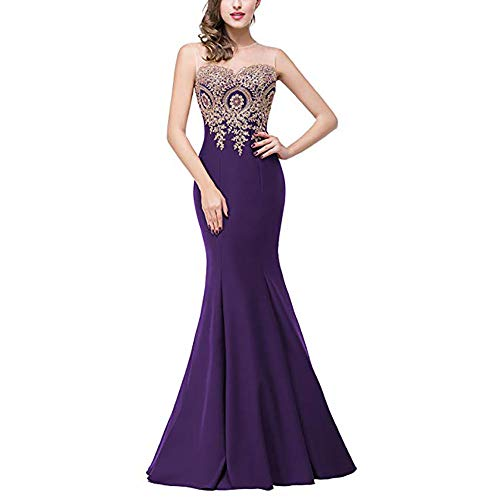 Auming Honor Evening Dress Red Baile color De Maxi Purple Encaje Formal Mermaid Cuello Mangas Largos Vestidos Size S Vestido For Apliques Dama Sin Women UIRCrwqU