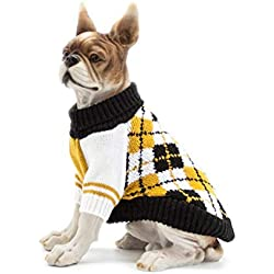 Scheppend Dog Sweater Pet Cat Festive Winter Knitwear Warm Clothes Diamond Plaid Turtleneck Sweaters Puppy Soft Sweatshirt for Small Medium Dogs, Extra Large Yellow