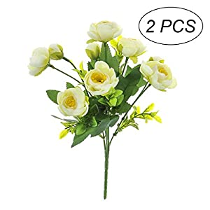 STOBOK 2pcs Artificial Camellia Flowers Bouquet Fake Plant Bundle for for Party Wedding Home Decoration (White) 70