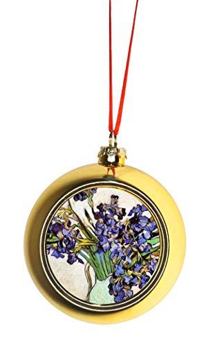 Rosie Parker Inc. Artist Vincent Van Gogh's Vase of Irises Bauble Christmas Ornaments Gold Bauble Tree Xmas Balls