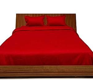 Brightlinen Blood Red Superking (180 X 200 Cm) Duvet Set Fitted Sheet Solid(pocket Size: 26 Cm) 4pcs