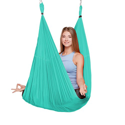 EuroSports 2000 lbs Capacity High Elastic Large Size(L:197in W:110in) Silk Fabric Aerial Flying Yoga Swing/ Hammock/ Trapeze for Air Yoga Inversion Exercises(5m x 2.8m)