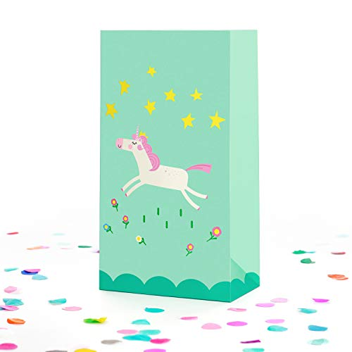 Unicorn Goodie and Party Favor Bags for Kids, 16 pc - Unicorn-Themed Paper Goody Bag Set for Girls - Cute, Colorful, Magical Birthday Supplies and Gift Bags with Unicorns and Flower Design