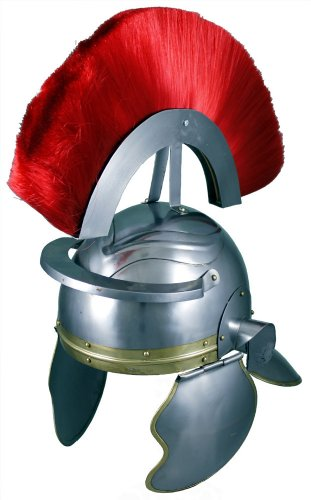 Gladiator Helm (RedSkyTrader Mens Roman Officer Helmet with Plume One Size Fits Most Metallic)