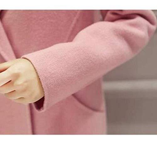Mujer Parkas Estilo Bolsillos De Rosa Delanteros Manga Prendas Casual Botón Especial Invierno Exteriores Windbreaker Unicolor Larga Solapa BCBqr