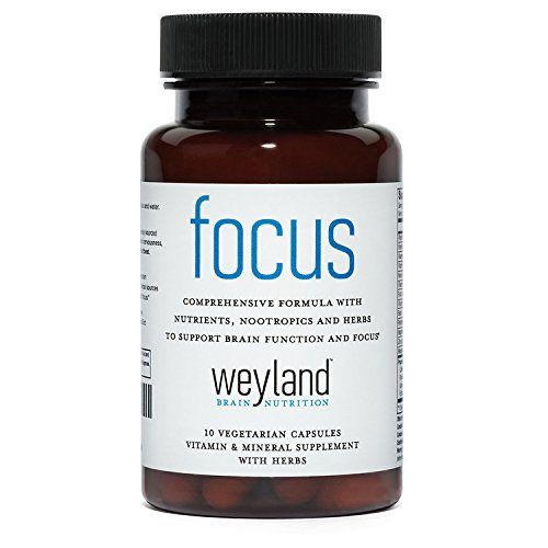 Focus Support Supplement with Vitamins, Minerals and Herbs (10 Vegetarian Capsules)