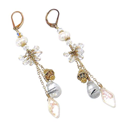 Rutilated Quartz Cultured Pearl Gold-Filled Chain Dangle Chandelier Earrings