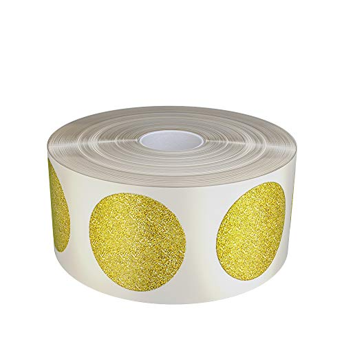 Gold Glitter Sparkle Circle Stickers 19mm Diameter on Roll - Envelope Seals - 3/4 (0.75) inch 1.9cm Sparkle Adhesive- 430 Pack by Royal Green (Glitter Circle Stickers)