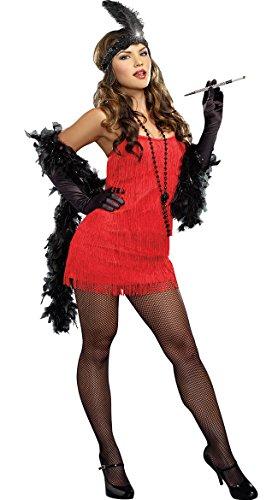 Dreamgirl Flapper Costume Dress, Red,
