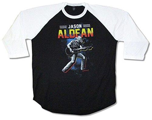 Jason Aldean Vintage Photo Black Raglan Shirt Country Music (2X)