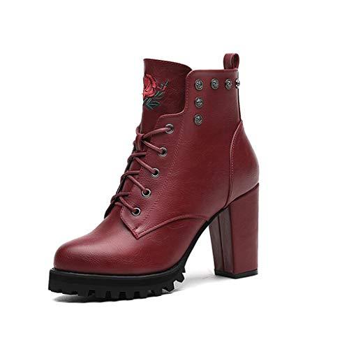 Invierno Altos Más Rojo Mujer Terciopelo Yiwu Primavera El Zapatos Vino Femeninos E Nuevo 2019 Estilo Ms Algodón Tacones De Cuero Grueso Tacón Otoño Botas v55ZPBq
