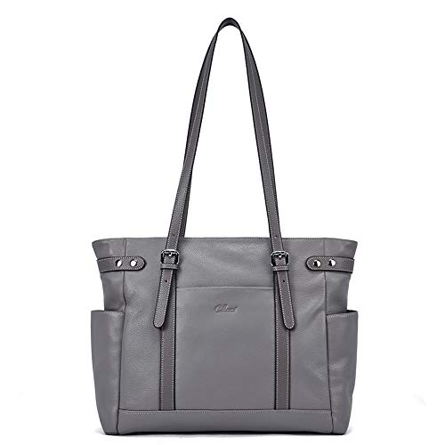 Laptop Totes for Women Genuine Leather Briefcase Large Ladies Shoulder Bag Work Handbags 15.6 Inch Computer Gray