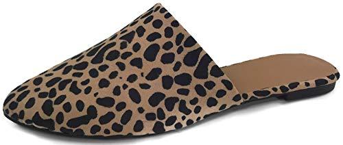 Backless Slip On Loafer Flats Mules Low Heel Dress Slipper Shoes, Tan Leopard, 6