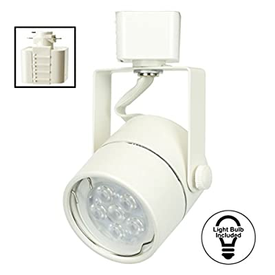 D&D Brand H System GU10 Line Voltage Track Lighting Fixture White with 7.5W 3K Warm White LED Bulb HTC-9154-W3K-WH