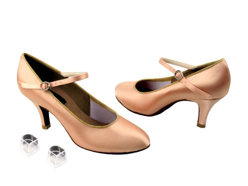 Ladies Women Ballroom Dance Shoes from Very Fine CD5024M Rounded Toe 2.5'' Heel (7.5, Flesh Satin-Rounded Toe)