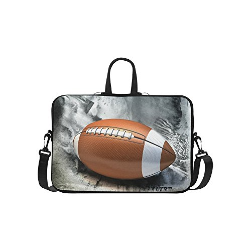 InterestPrint Sport Football Laptop Sleeve Case Bag, American Football Shoulder Strap Laptop Sleeve Notebook Computer Bag 15-15.6 Inch for Macbook Pro Air Dell HP Lenovo Thinkpad Acer Ultrabook (Case Case Double Football)