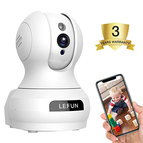 Baby Monitor, Lefun Wireless IP Security Camera WiFi Surveillance Pet Camera with Cloud Storage Two Way Audio Remote Viewing Pan/Tilt/Zoom Night Vision Motion Detect for Home/Shop/Office (Home Security Camera Monitor)