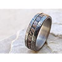 cool mens ring mixed metal, unique wedding band bronze silver, mens wedding ring two tone, mens engagement ring wood grain, bronze anniversary gift