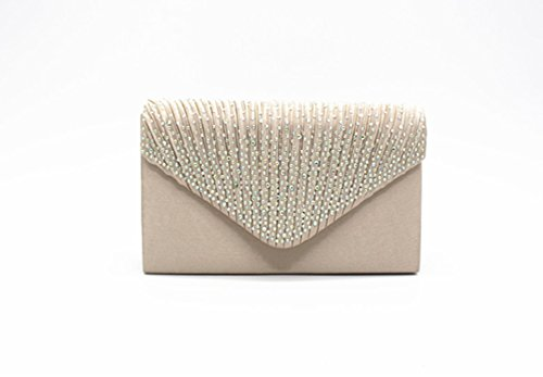 Ladies Wedding Womens Party DaoRier Handbag Light White 5 Bag Envelope 21 Bridal Evening Clutch Satin Hot Purse Diamond White 13cm qEpdqw5