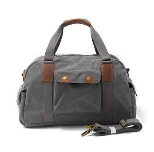 ZC&J Bolso retro del bolso de hombro de la capacidad grande 20-35L de los hombres, bolso al aire libre de los deportes del recorrido bolso del mensajero de la lona, bolso sólido de la correa del desga B